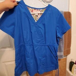 royal blue side tie scrub top